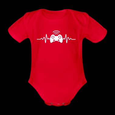 Gamer Heartbeat T-Shirt - Baby Bio-Kurzarm-Body