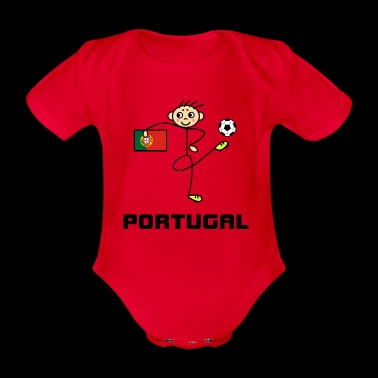 Portugal stick figure football player - Organic Short-sleeved Baby Bodysuit