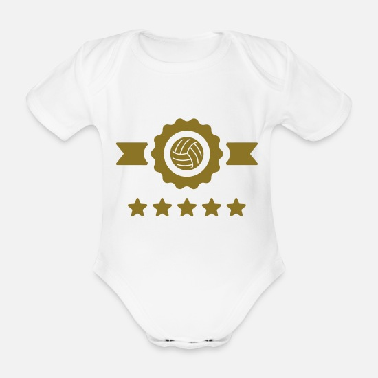 Play Baby Clothes - Volleyball - Volley Ball - Volley-Ball - Sport - Organic Short-Sleeved Baby Bodysuit white