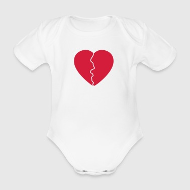 Love hurts / broken heart - Organic Short-sleeved Baby Bodysuit
