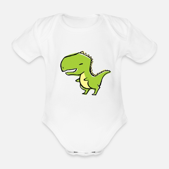 Baby Shower Baby Clothes - dino - Organic Short-Sleeved Baby Bodysuit white