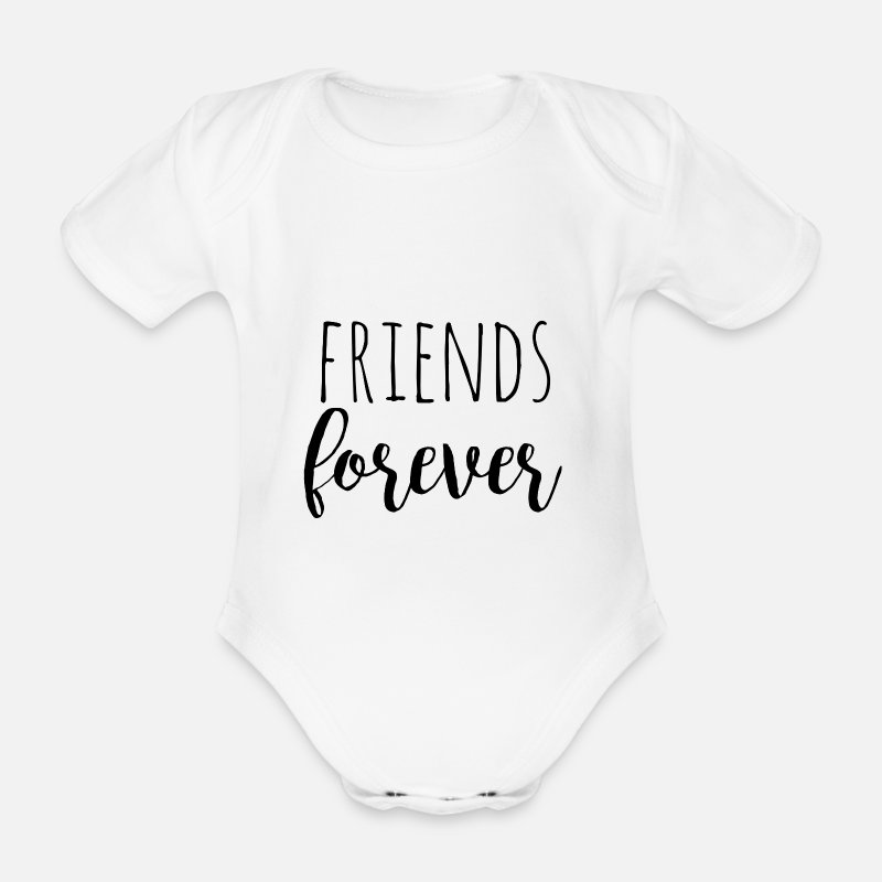 Siblings Baby Clothing - Friends forever - black -Design for twins - Short-Sleeved Baby Bodysuit white
