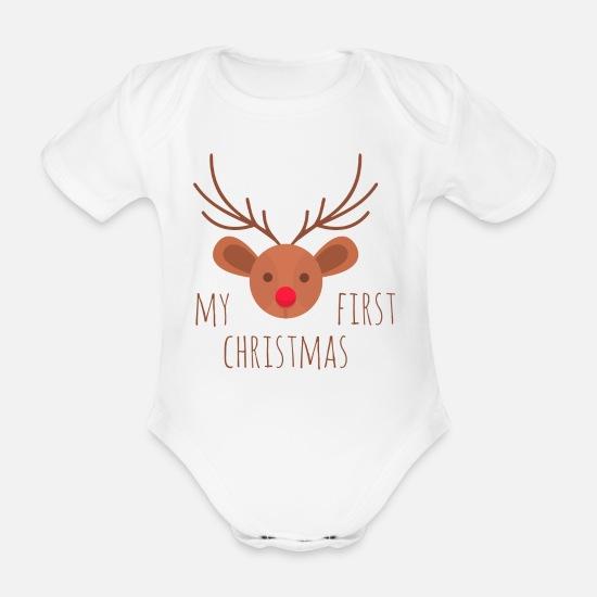 528c1053ba924 Renne Vêtements Bébé - Mon premier Noël rennes - Body Bébé bio manches  courtes blanc