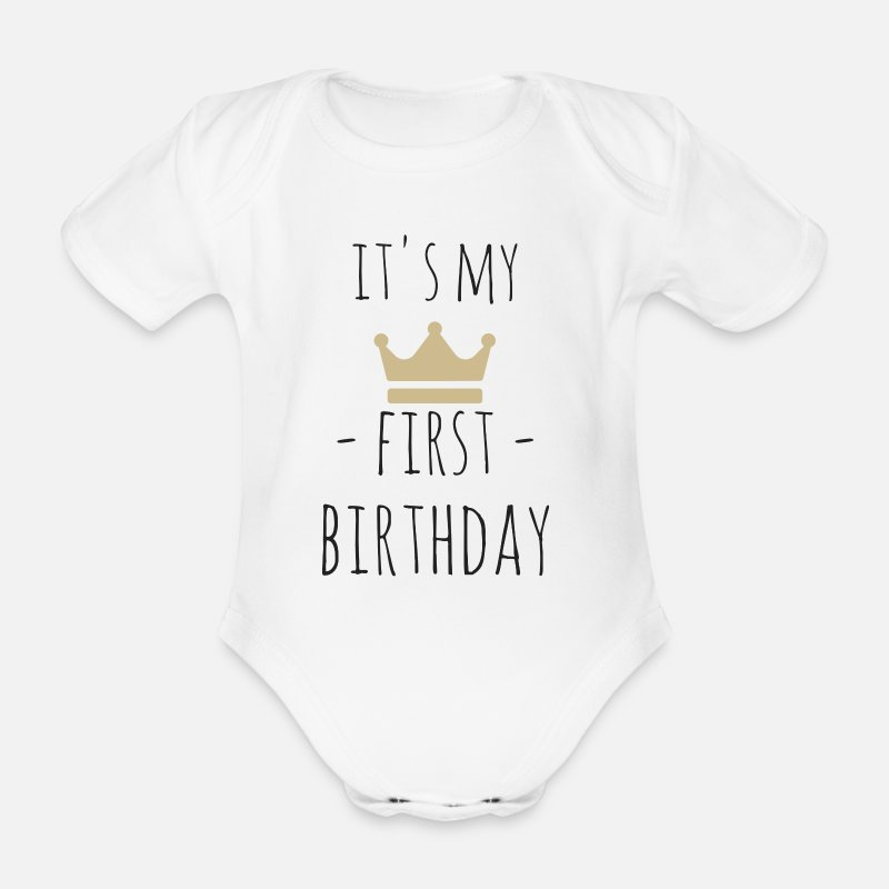 Birthday Baby Clothing - It's my first birthday - Short-Sleeved Baby Bodysuit white