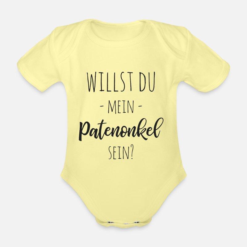 Kurzarm Baby-Body mit Aufdruck Willst du mein Patenonkel werden Bio-Baumwolle