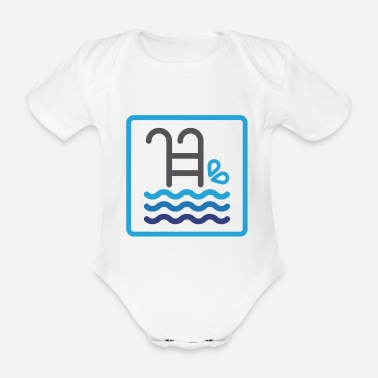 Lifeguard Pool summer water sea gift idea christmas - Organic Short-sleeved Baby Bodysuit