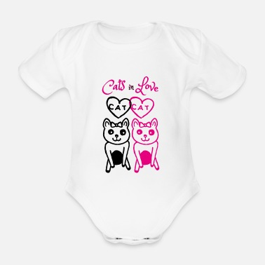 Cats In Love Cats in love - Organic Short-Sleeved Baby Bodysuit