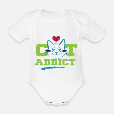 Limited Edition LIMITED EDITION. Cat Addict. cute cat - Organic Short-Sleeved Baby Bodysuit
