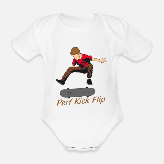 Ollie Baby Clothes - Perf kick flip. Can you do it? - Organic Short-Sleeved Baby Bodysuit white