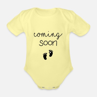 Announcement Coming Soon - Pregnancy Announce with Body - Organic Short-Sleeved Baby Bodysuit