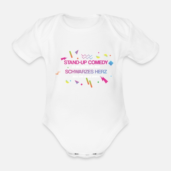 Birthday Baby Clothes - Black Stand Up Comedy Humor - Organic Short-Sleeved Baby Bodysuit white
