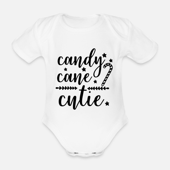 Candy Cane Baby Clothes - Candy Cane Cutie Christmas - Organic Short-Sleeved Baby Bodysuit white