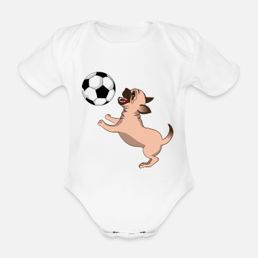 Sport Dog In The Air With Soccer Ball - Baby Bio Kurzarmbody