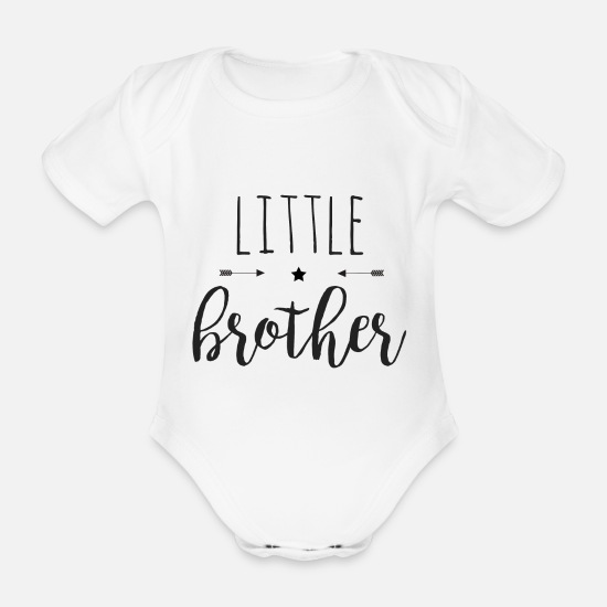 Boy Baby Clothes - Little brother - Organic Short-Sleeved Baby Bodysuit white