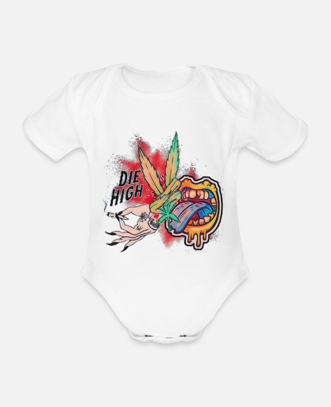 Rasta Baby Bodysuits - The High Cannabis Peace Design - Organic Short-Sleeved Baby Bodysuit white
