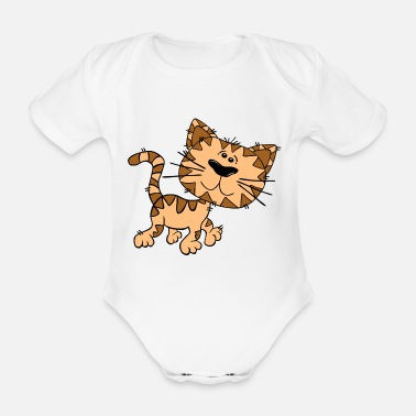 Gutter Leo gutter cat - Organic Short-Sleeved Baby Bodysuit