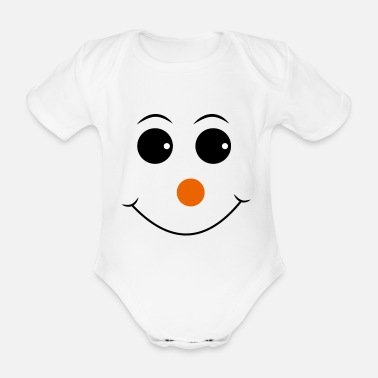 Nose Smiley with red nose - Organic Short-Sleeved Baby Bodysuit