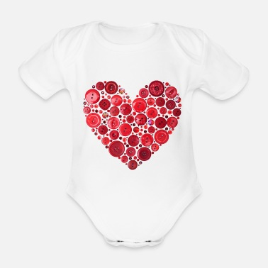 Heart Red Button Heart Print - Organic Short-Sleeved Baby Bodysuit