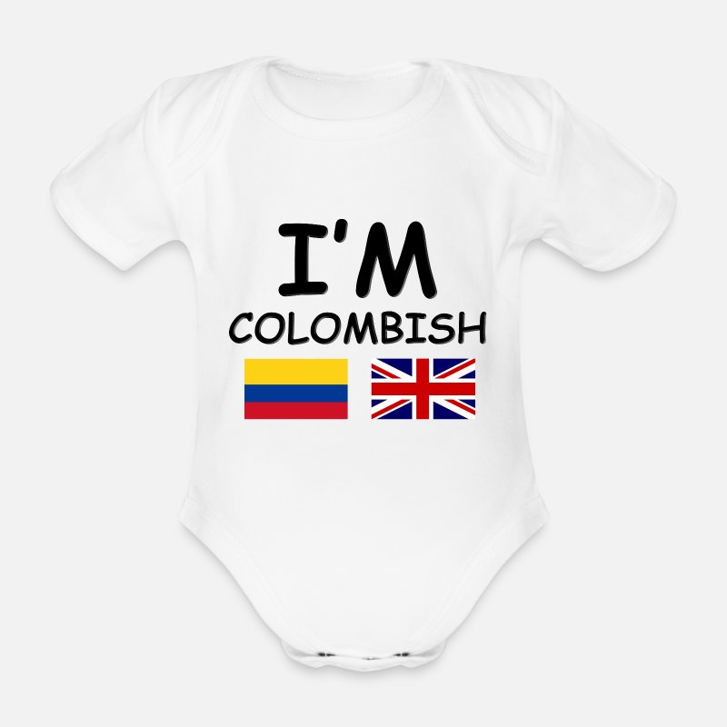 Funny Baby Clothing - Colombian & English = Colombish - Short-Sleeved Baby Bodysuit white
