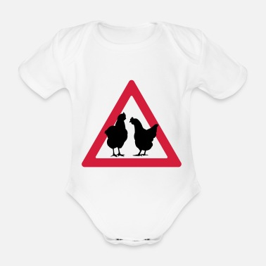 Hen Party Attention chickens / hens hen party - Organic Short-sleeved Baby Bodysuit