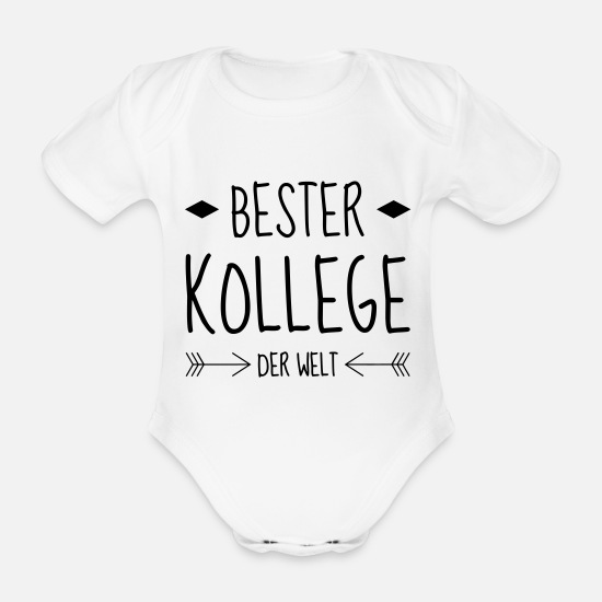 Factory Baby Clothes - Colleague Business Kollegen Collègue Kollege - Organic Short-Sleeved Baby Bodysuit white