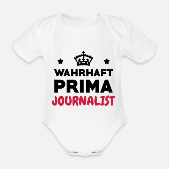 Newspaper Baby Clothes - Journalist Journalism Journalismus Journaliste - Organic Short-Sleeved Baby Bodysuit white