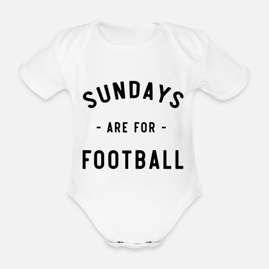 American Football Baby Clothes - Sundays Are For Football - Organic Short-Sleeved Baby Bodysuit white