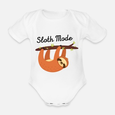 Cute Illustration Sloth Mode - Cute Illustration - Organic Short-Sleeved Baby Bodysuit