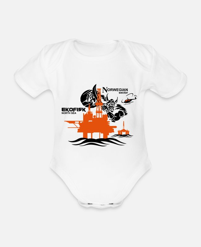 Oil Baby Bodysuits - Ekofisk Oil Rig Platform North Sea Norway - Organic Short-Sleeved Baby Bodysuit white