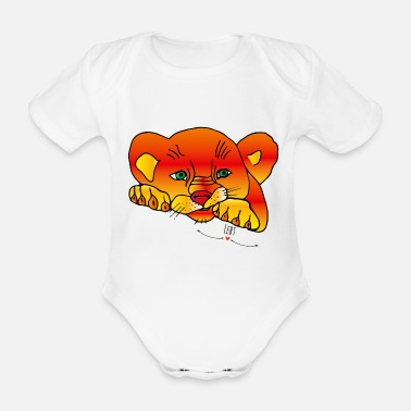 Cubs lion cub - Organic Short-sleeved Baby Bodysuit