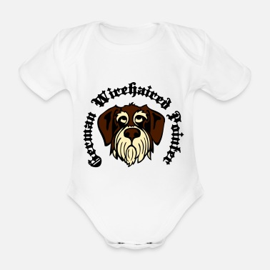 wirehaired_pointer_face_3c - Organic Short-Sleeved Baby Bodysuit
