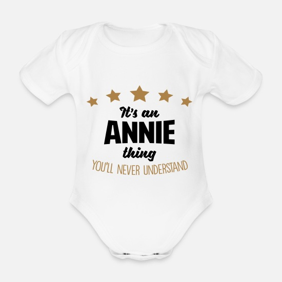 Never Baby Clothes - It's an annie name thing stars never unde - Organic Short-Sleeved Baby Bodysuit white