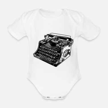 Old typewriter - Organic Short-Sleeved Baby Bodysuit