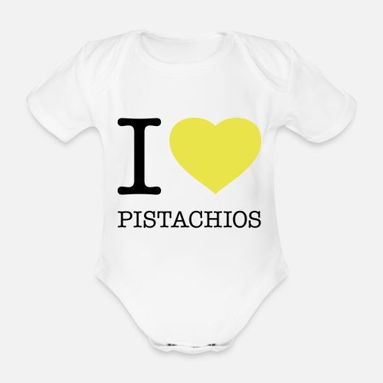 ed7bf2ae Nøtt Babyklær - I LOVE PISTACHIOS - Økologisk kortermet babybody hvit