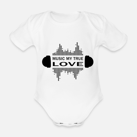 Hardstyle Baby Clothes - Musician love saying techno hip hop pop gift - Organic Short-Sleeved Baby Bodysuit white