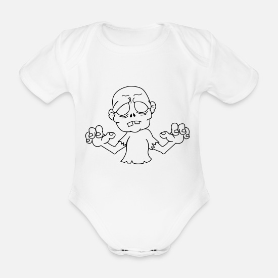 Horror Baby Clothes - zombie_1 - Organic Short-Sleeved Baby Bodysuit white