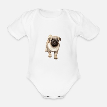 Squint sweet squinting pug - Organic Short-Sleeved Baby Bodysuit