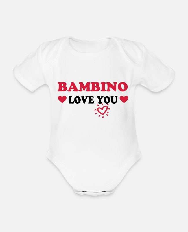 Pregnancy Baby Bodysuits - Bambino love you - Organic Short-Sleeved Baby Bodysuit white