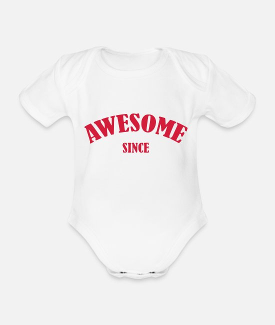 3 Baby Bodys - Awesome since - Baby Bio Kurzarmbody Weiß