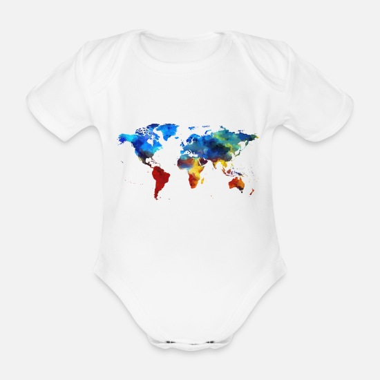 World Map Baby Clothes - map of the world - Organic Short-Sleeved Baby Bodysuit white