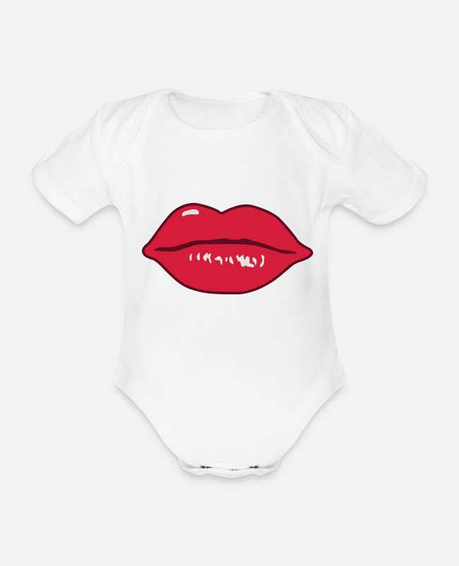 Lips Baby Bodysuits - Sexy Mouth - Organic Short-Sleeved Baby Bodysuit white