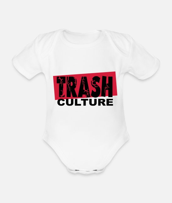 Waste Baby Clothes - trash culture - Organic Short-Sleeved Baby Bodysuit white