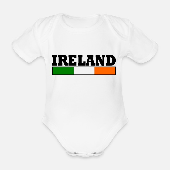 Glasgow Baby Clothes - Ireland flag - Organic Short-Sleeved Baby Bodysuit white