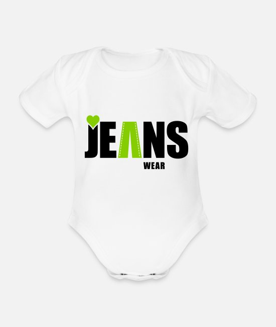Torn Baby Bodysuits - jeans wear_heart - Organic Short-Sleeved Baby Bodysuit white