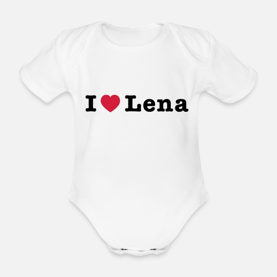 Music Baby Clothes - I Love Lena 1 - Organic Short-Sleeved Baby Bodysuit white
