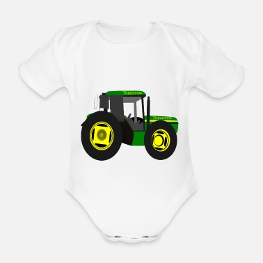 Back Yard tractor - Organic Short-Sleeved Baby Bodysuit