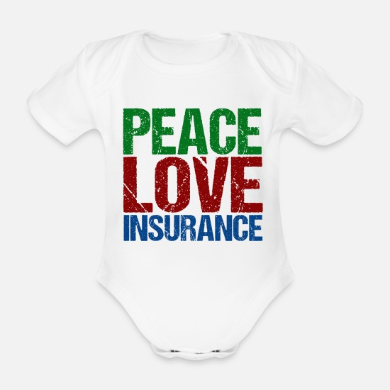 Peace Vêtements Bébé - Peace Love Insurance - Body Bébé bio manches courtes blanc