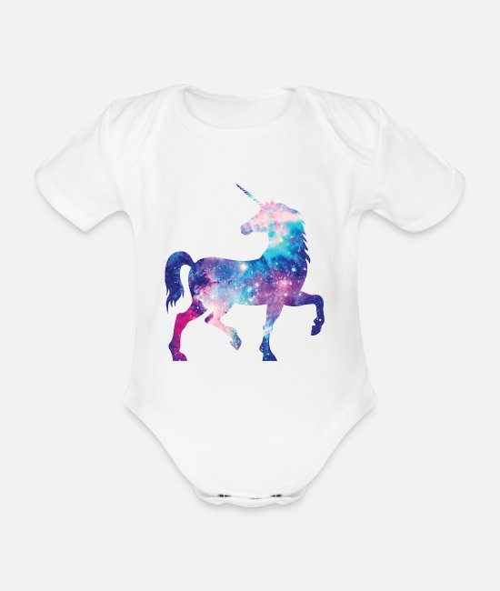 Galaxy Baby Bodysuits - Unicorn with constellation design - Organic Short-Sleeved Baby Bodysuit white