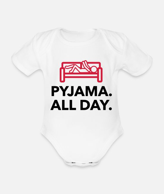 Bed Baby Bodysuits - Throughout the day in your pajamas! - Organic Short-Sleeved Baby Bodysuit white