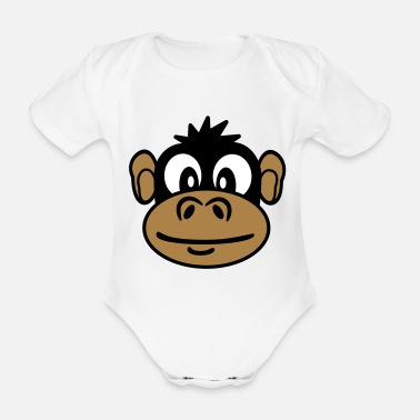 monkey face - Organic Short-Sleeved Baby Bodysuit